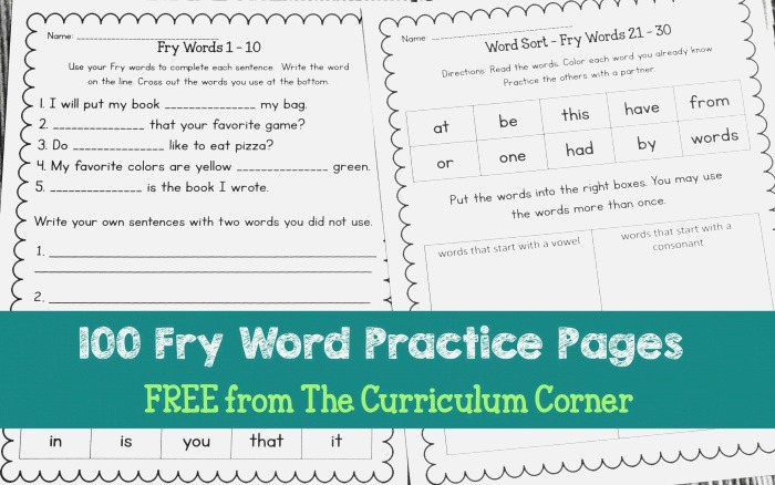 Fry Word Practice Pages the Curriculum Corner 123