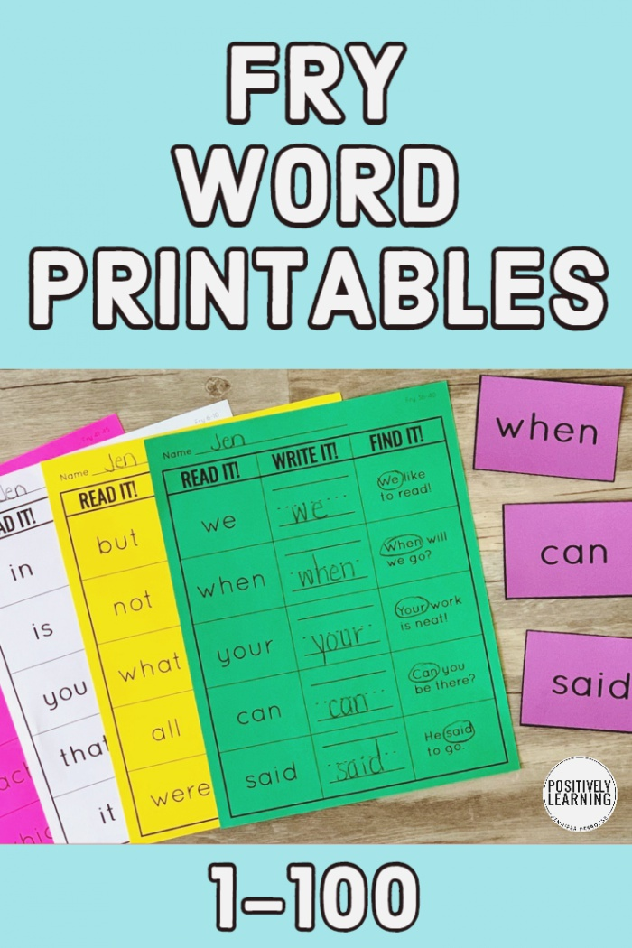 Fry Words Worksheets Set 1 Positively Learning