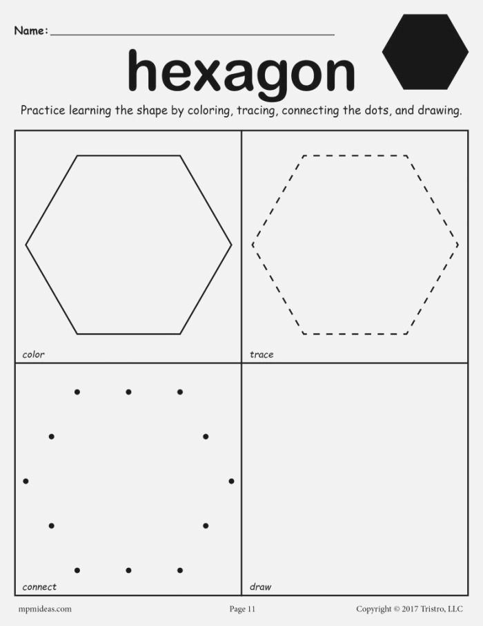 Hexagon Worksheet Color Trace Connect & Draw – Supplyme