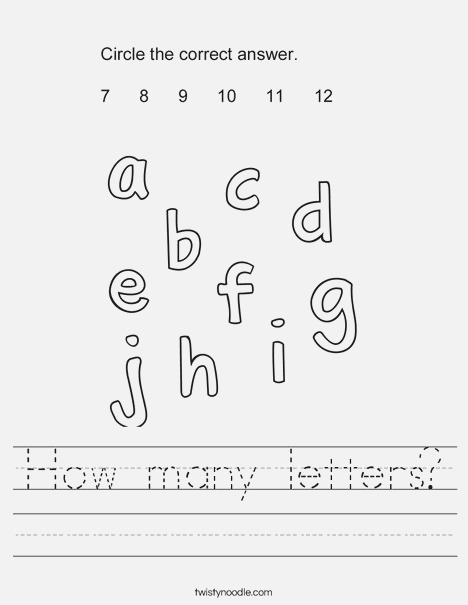 How Many Letters Worksheet Twisty Noodle