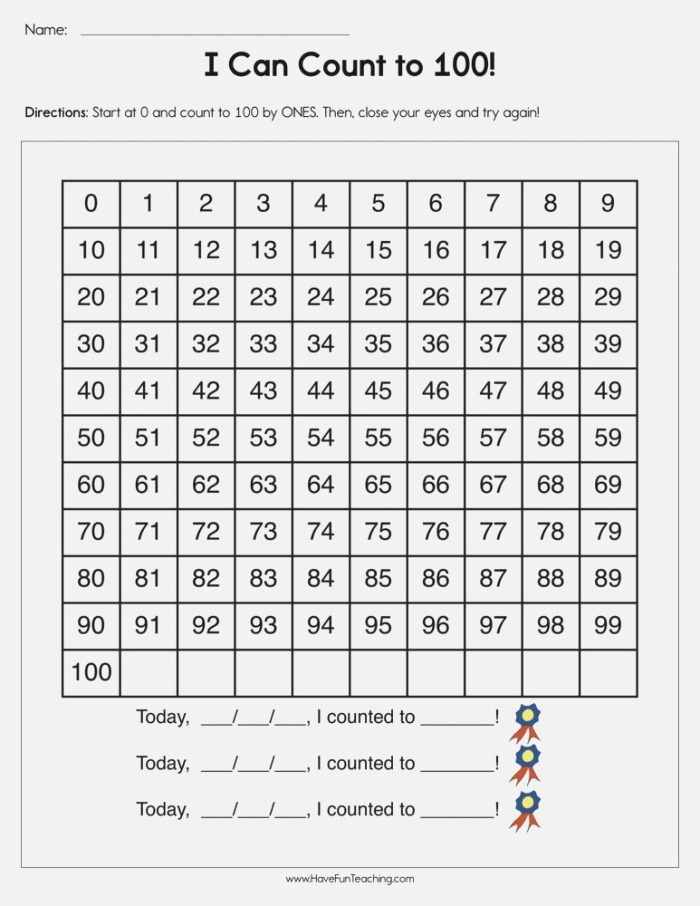 I Can Count to 100 Worksheet • Have Fun Teaching