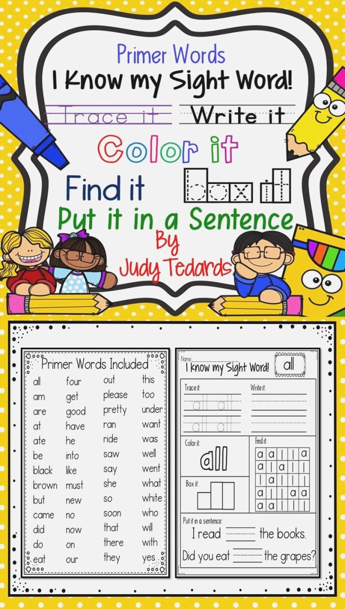 I Know My Sight Words Worksheets Primer Words In 2020