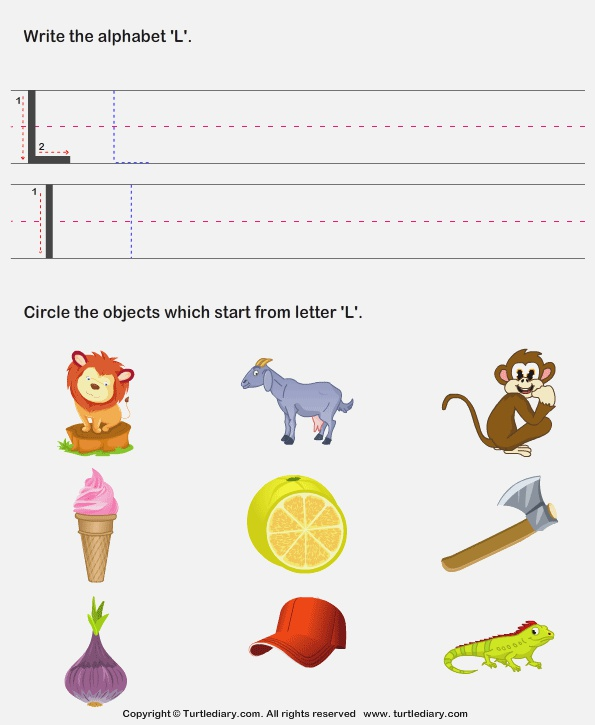 Identify Words that Start with L Worksheet Turtle Diary