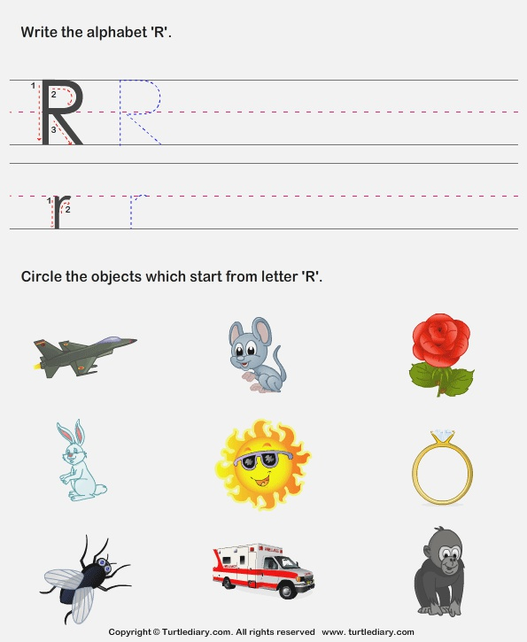 Identify Words that Start with R Worksheet Turtle Diary