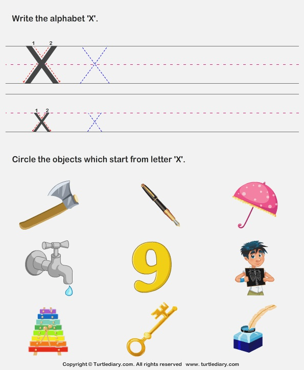 Identify Words that Start with X Worksheet Turtle Diary