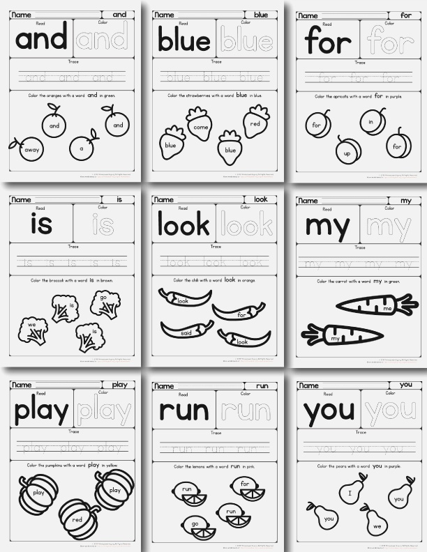 In the orchard Pre Primer Sight Words Workbook