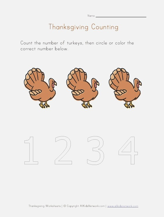 Kids Thanksgiving Number Worksheet Count to Three