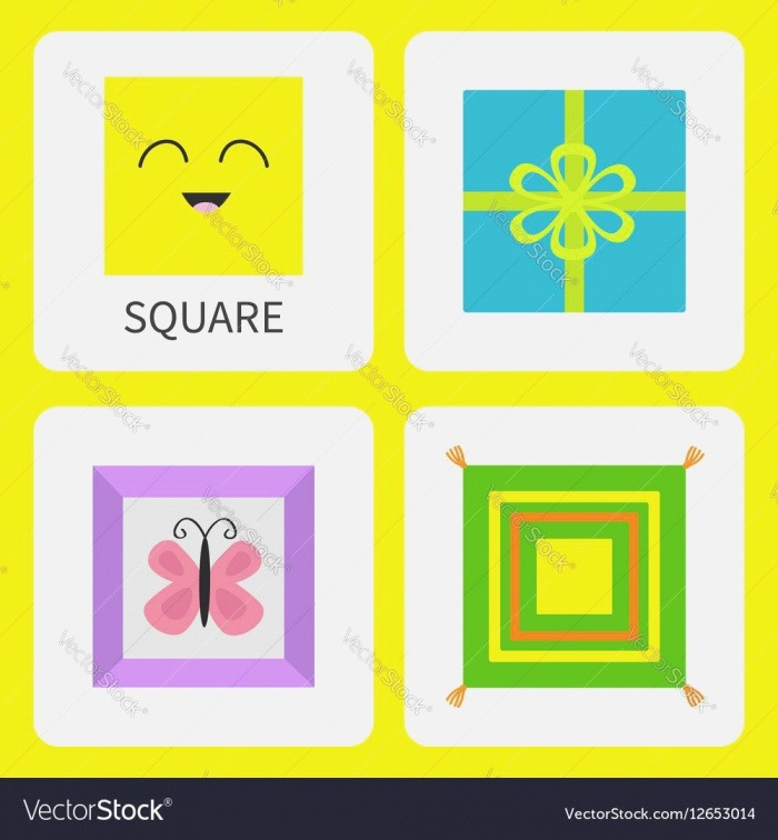Learning Square form Shape Smiling Face Cute Cartoon