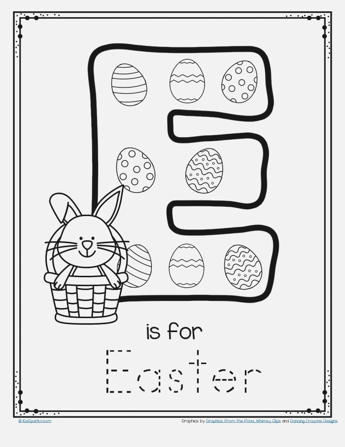Letter E is for Easter Trace and Color Printable Free