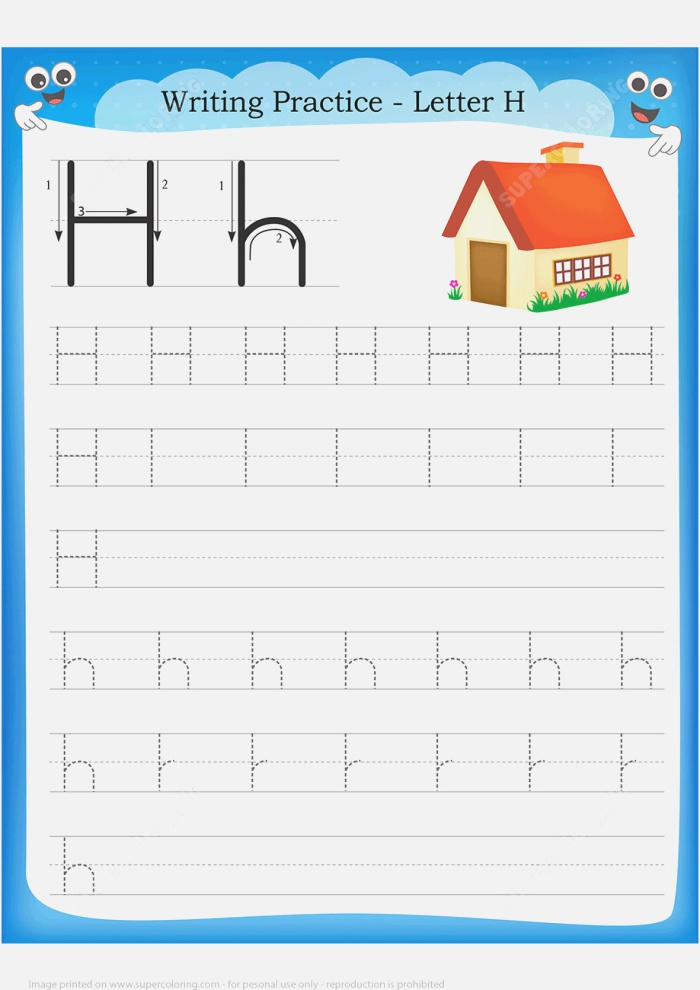 Letter H is for Home Handwriting Practice Worksheet
