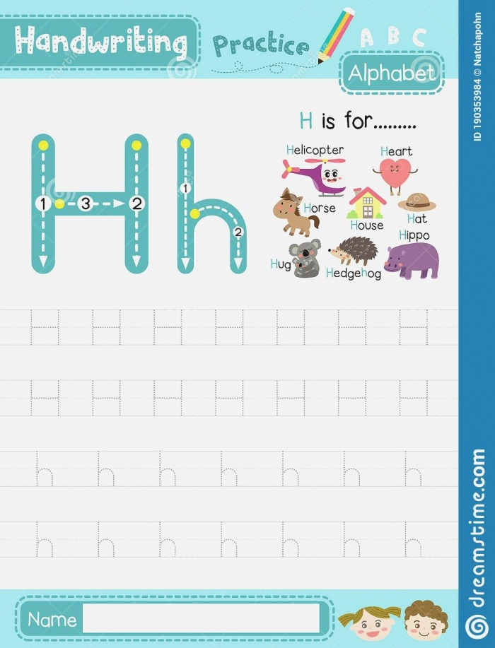 Letter H Uppercase and Lowercase Tracing Practice