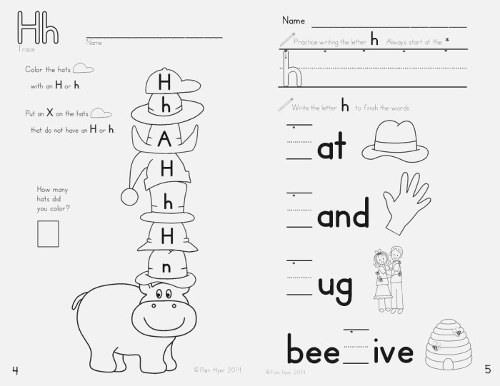 Letter H Worksheet Learning My Letters Booklet by Pam