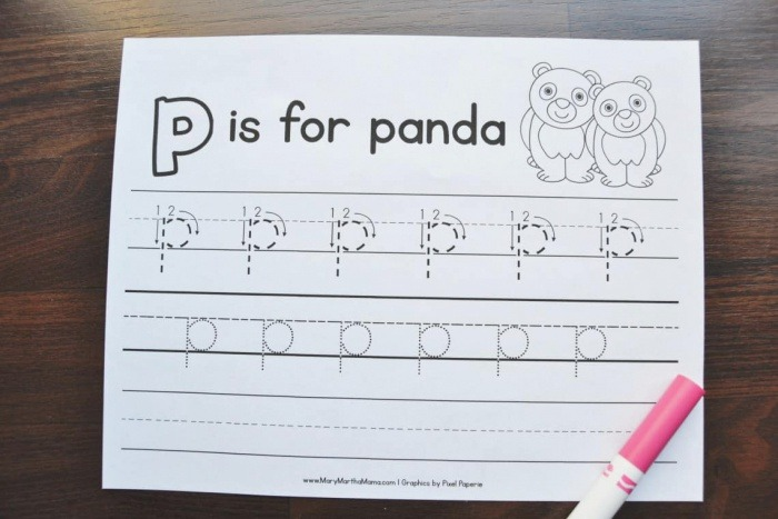 Letter P Tracing Worksheets – Mary Martha Mama