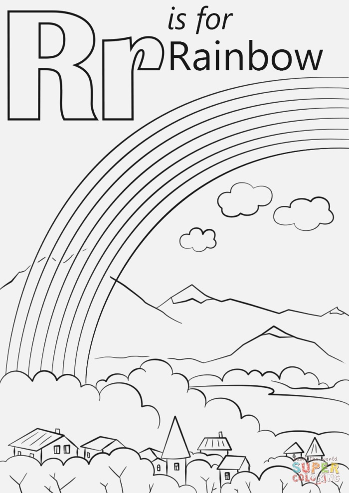 Letter R is for Rainbow Coloring Page