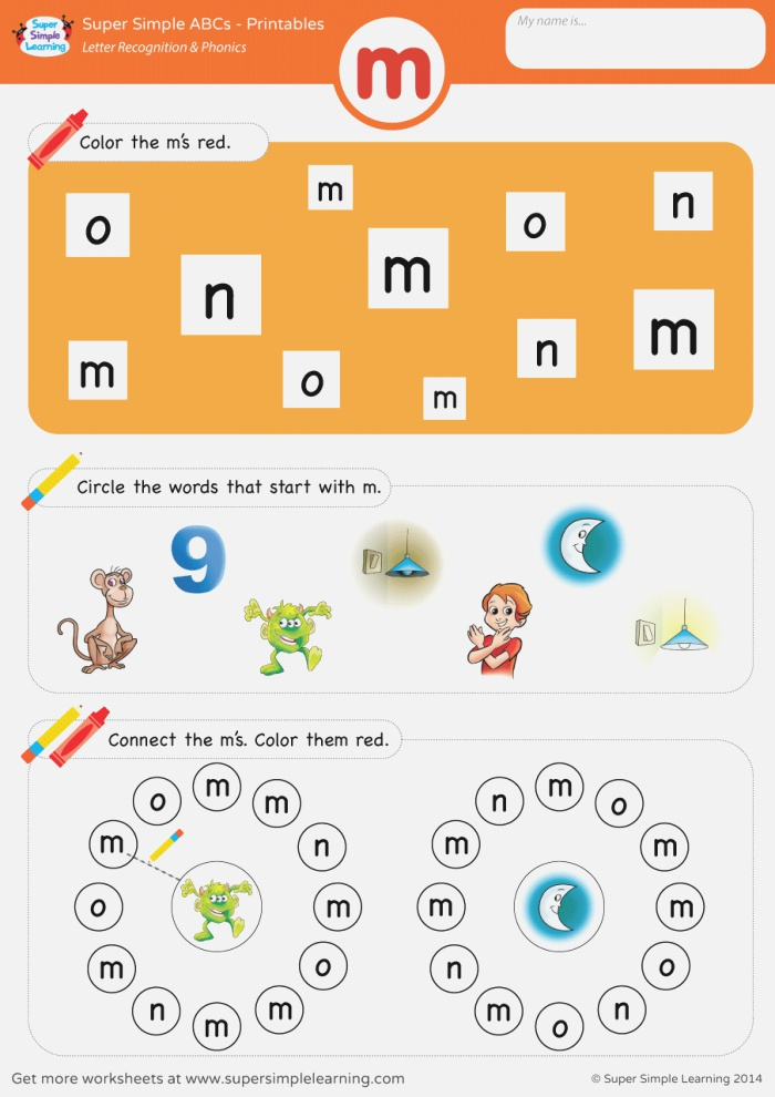 Letter Recognition & Phonics Worksheet M Lowercase