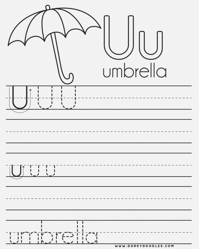 Letter U Writing Practice and Coloring Page – Dorky Doodles