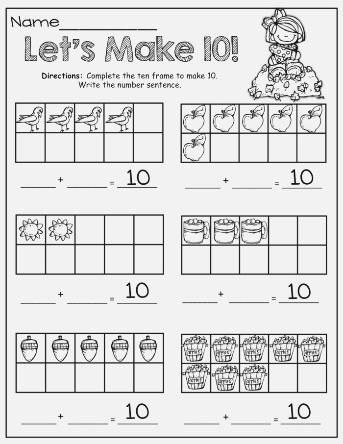 Making 10 with Fall 10 Frames Math Pinterest