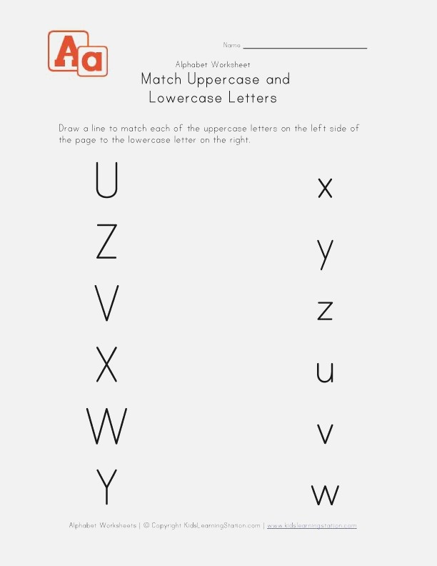 Match Uppercase to Lowercase Letters U V W X Y and Z