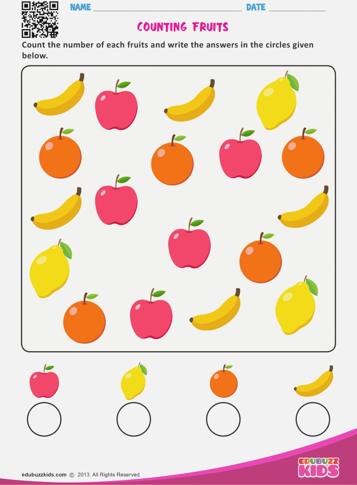 Math Counting Objects Worksheets for Preschool