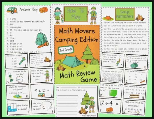 Math Movers Game Camping Edition Printable Worksheet with