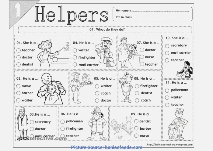 Munity Helpers Matching Worksheets In these Worksheet