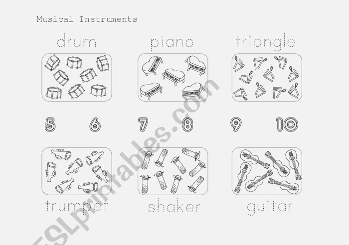 Musical Instruments Count and Trace Esl Worksheet by