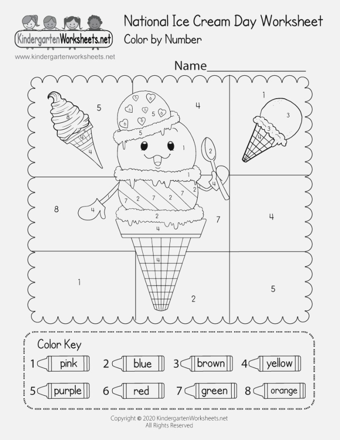 National Ice Cream Day Coloring Worksheet Color by Number