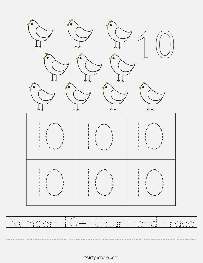 Number 10 Count and Trace Worksheet Twisty Noodle