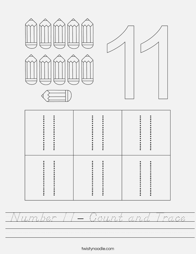 Number 11 Count and Trace Worksheet D Nealian Twisty