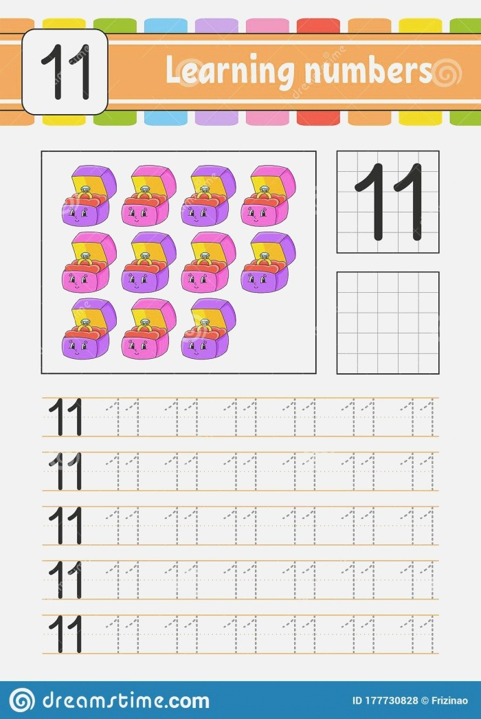 Number 11 Trace and Write Handwriting Practice Learning