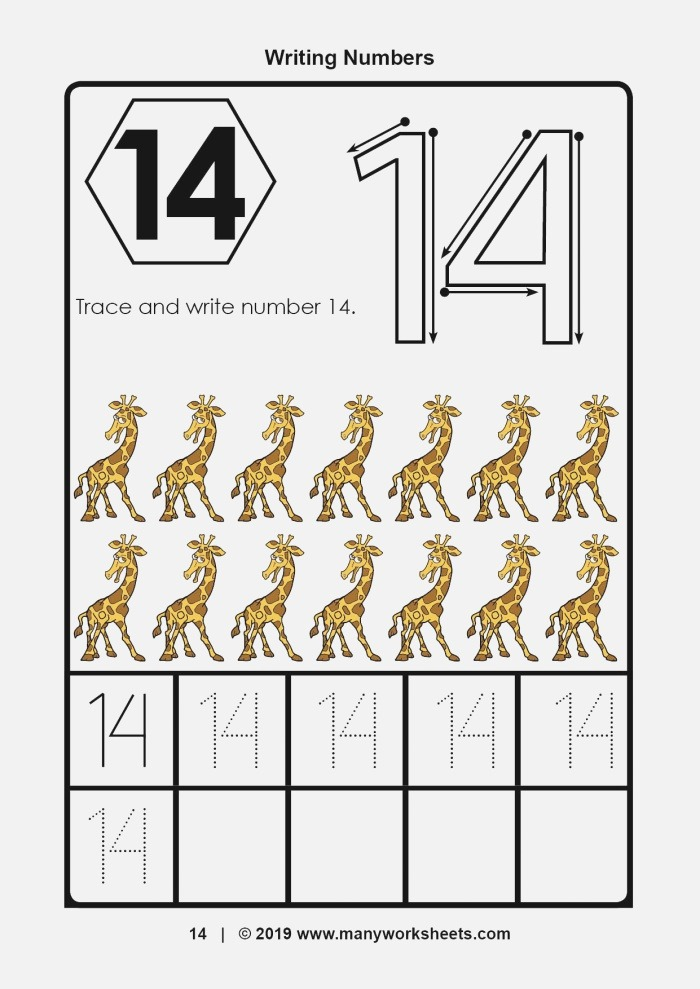 Number 14 Tracing Worksheets for Preschool – Dotted Numbers