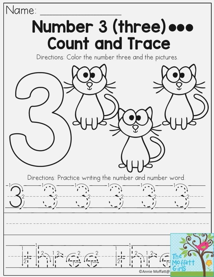 Number 3 Count Color and Trace the Number Three This