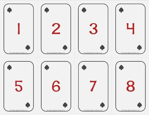 Number Cards 1 20 Deck Of Cards Numbers with Spades