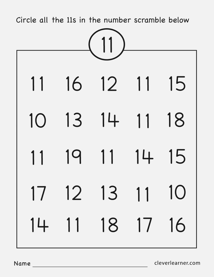 Number Eleven Writing Counting and Identification