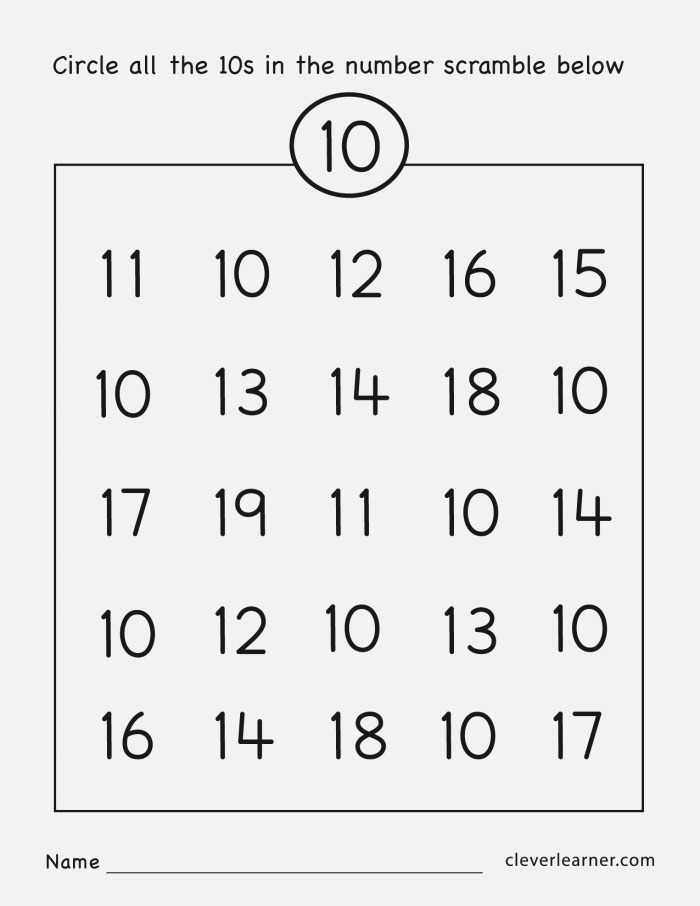 Number Ten Writing Counting and Identification Printable