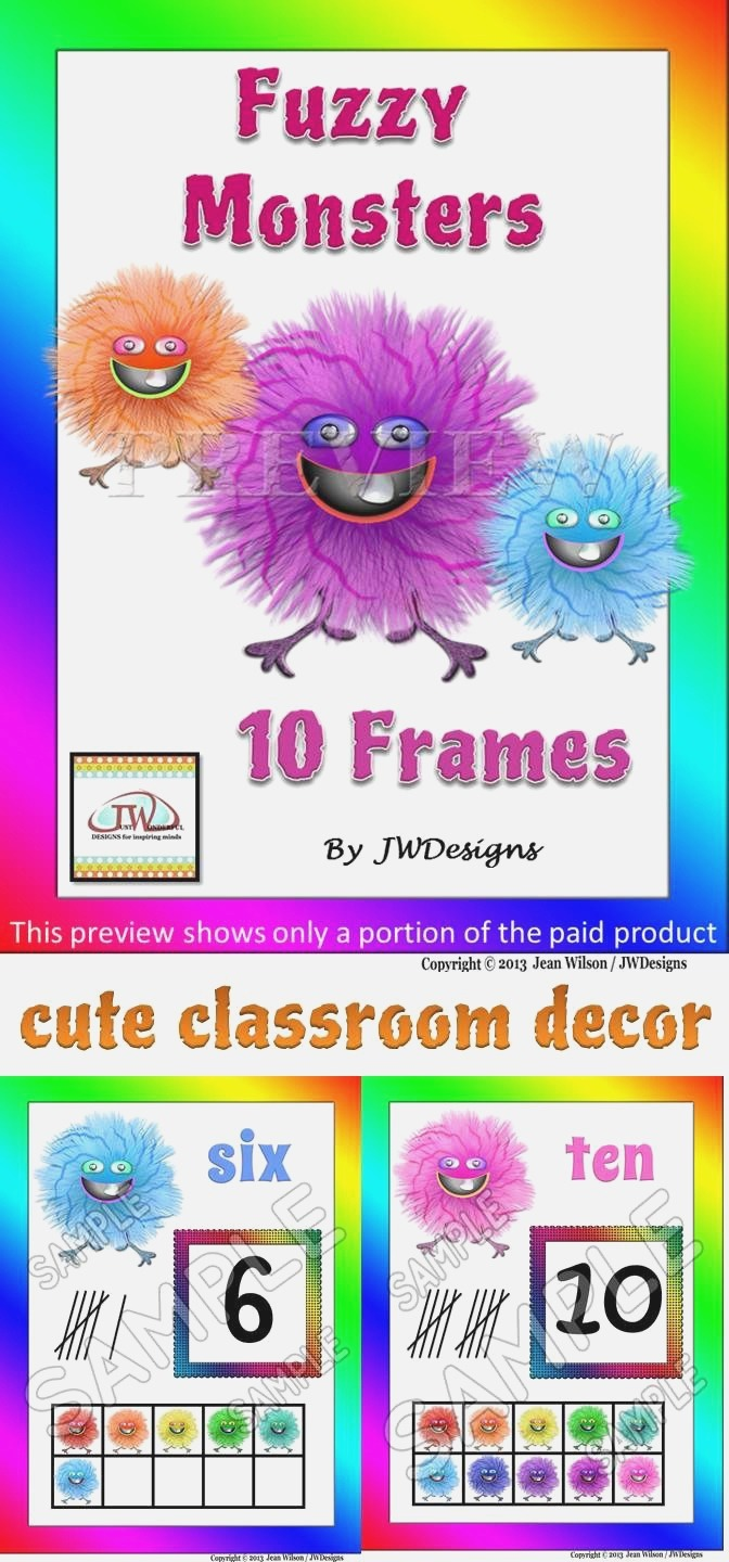 Numbers 1 20 Posters with Tens Frames In Fuzzy Monsters