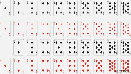 Numbers Playing Cards Excluding Ace Of Spades Stock