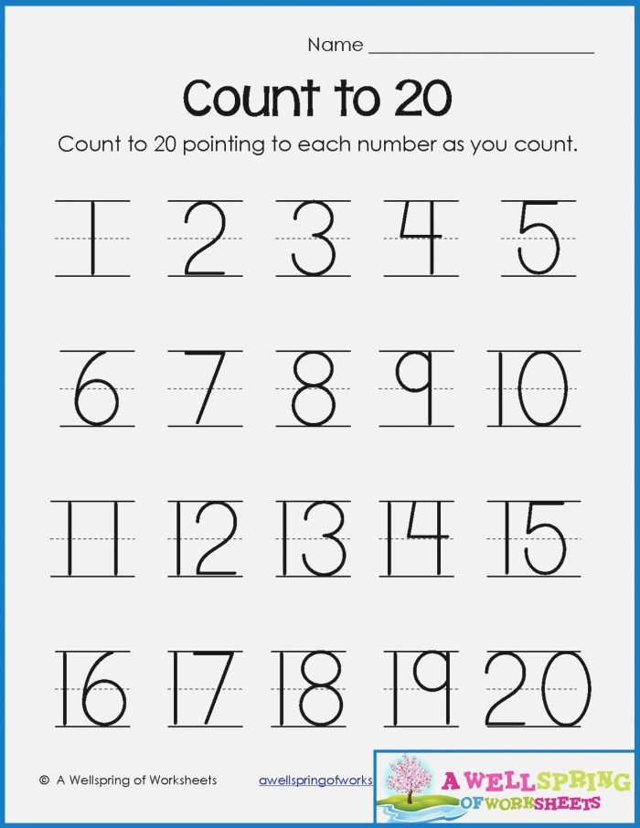 Numbers Tracing Worksheets 1 20