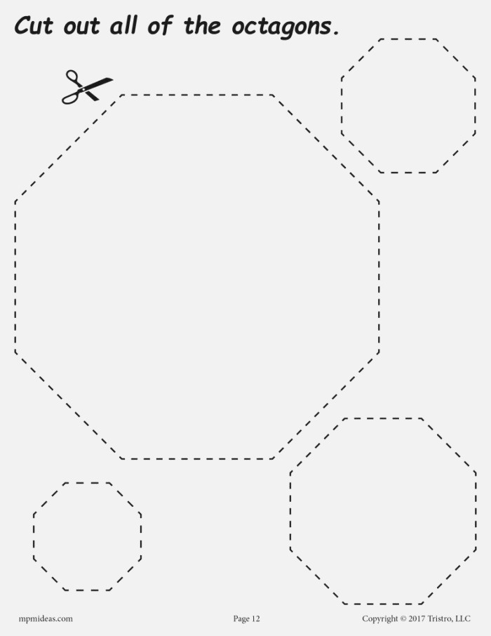Octagons Cutting Worksheet Octagons Tracing & Coloring