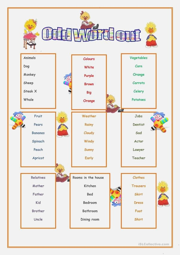 Odd Word Out English Esl Worksheets for Distance