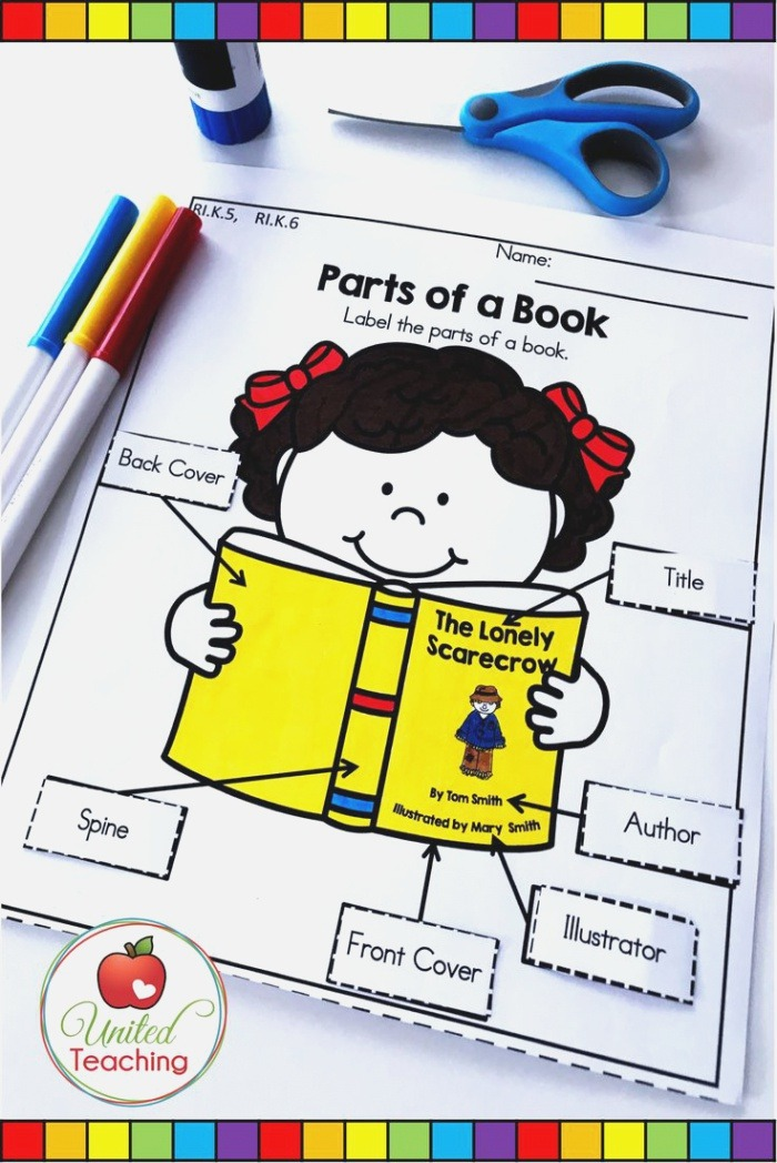 Parts Of A Book Anchor Charts and Activities United