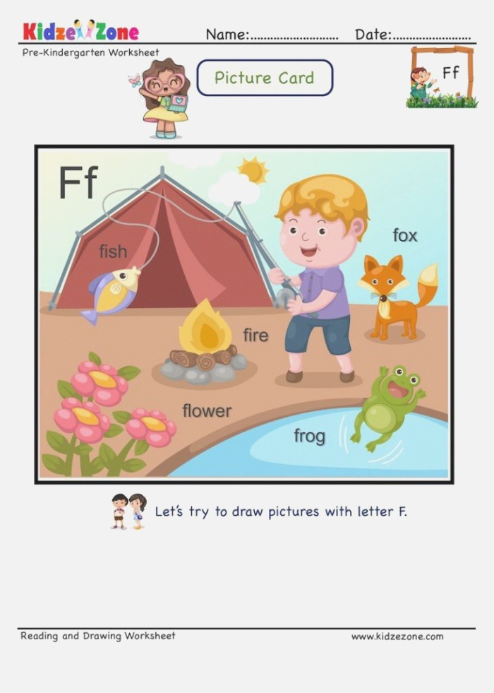 Picture Cards Letter F Learning to Read Using Initial
