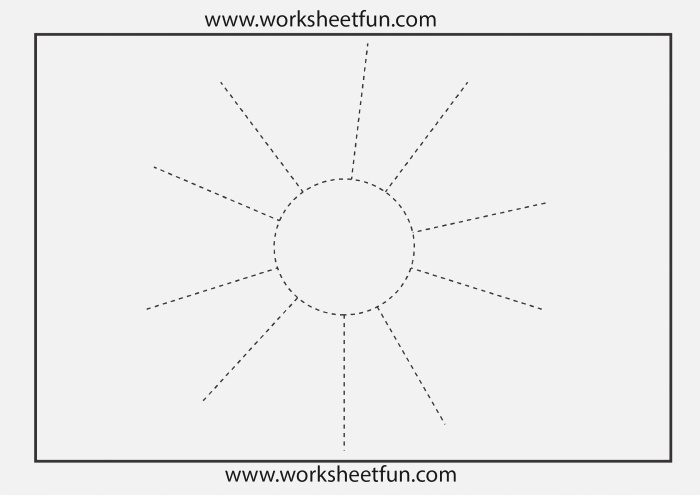 Picture Tracing – Sun – 1 Worksheet Free Printable