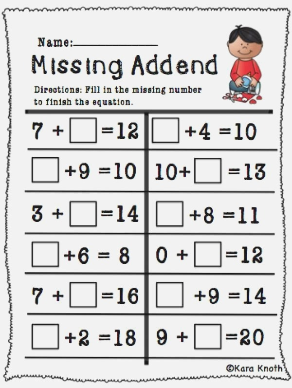 Pin On Missing Addends