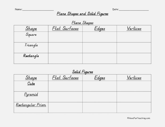 Plane Shapes and solid Figures Worksheet for 4th 5th