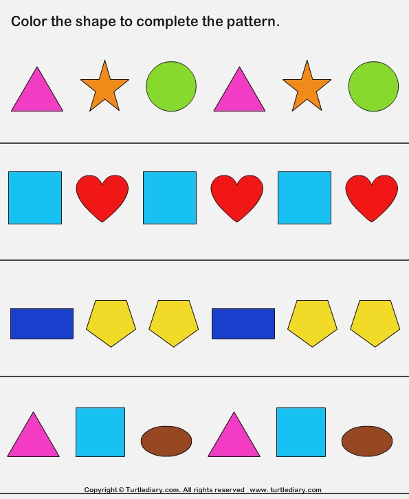 Plete Shapes Pattern by Coloring Worksheet Turtle Diary