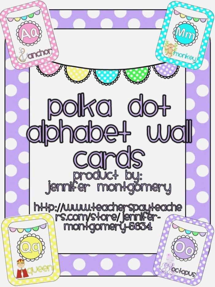 Polka Dot Alphabet Wall Cards with Images
