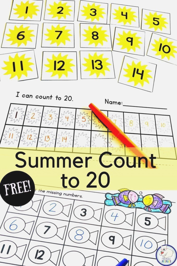 Practice Counting to 20 with these Summer Number Cards and