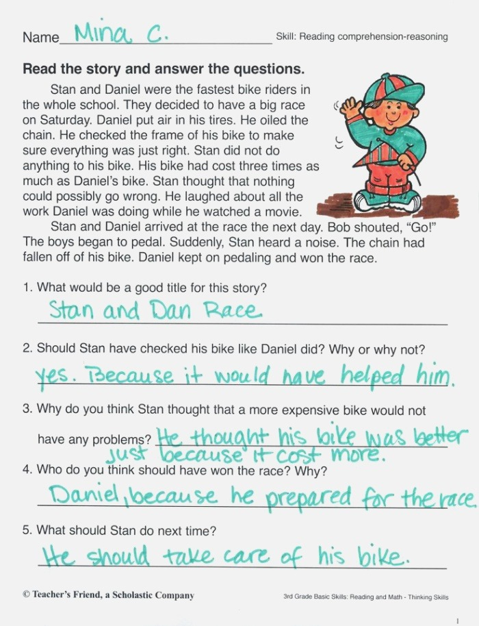 Practice Reading A Short Story and Answering Prehension