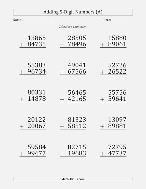 Print 5 Digit Plus 5 Digit Addition with some